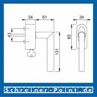 Hoppe Amsterdam Aluminium-Edelstahl Fenstergriff abschließbar F1-F69 Alu Natur - Edelstahl matt Secu100 + Secustik 1400/US950S (100 Nm), 2547691, 2547704 - Vorschau 2