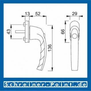 Hoppe Atlanta Aluminium Fenstergriff Druckknopf F9016 verkehrsweiß 0530SV/U26, 2258081, 2258128, 2258161 - Vorschau 2