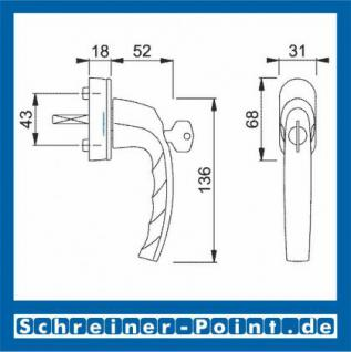 Hoppe Atlanta Aluminium Fenstergriff abschließbar F9 Stahl Secu100 + Secustik 0530S/US952 (100 Nm), 2257934, 2257977, 2258013 - Vorschau 2
