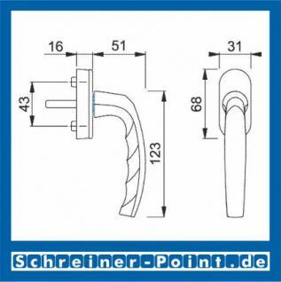 Hoppe Atlanta Aluminium Fenstergriff F9016 verkehrsweiß Secustik 0530/US952, 2236957, 2236949, 2256077, 2342389 - Vorschau 2