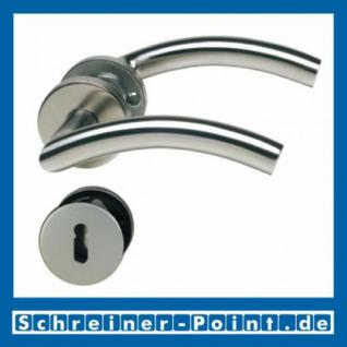 C-Form Edelstahl Rosettengarnitur auf Metall-Unterrosette - Vorschau 1