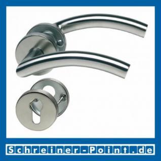 C-Form Edelstahl Rosettengarnitur auf Metall-Unterrosette - Vorschau 2