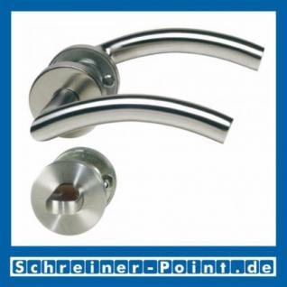 C-Form Edelstahl Rosettengarnitur auf Metall-Unterrosette - Vorschau 3
