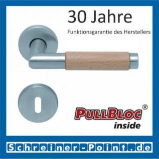 Scoop Chiara Holz PullBloc Rundrosettengarnitur Edelstahl matt/Buche/Eiche/Merbau, Rosette Edelstahl matt