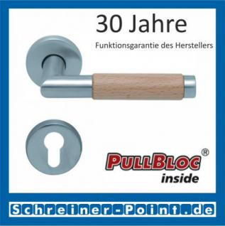 Scoop Chiara Holz PullBloc Rundrosettengarnitur Edelstahl matt/Buche/Eiche/Merbau, Rosette Edelstahl matt - Vorschau 2