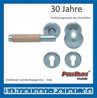 Scoop Chiara Holz PullBloc Rundrosettengarnitur Edelstahl matt/Buche/Eiche/Merbau, Rosette Edelstahl matt - Vorschau 5