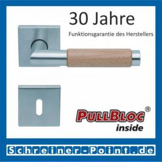 Scoop Chiara Holz quadrat PullBloc Quadratrosettengarnitur Edelstahl matt/Buche/Eiche/Merbau, Rosette Edelstahl matt