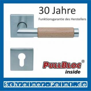 Scoop Chiara Holz quadrat PullBloc Quadratrosettengarnitur Edelstahl matt/Buche/Eiche/Merbau, Rosette Edelstahl matt - Vorschau 2