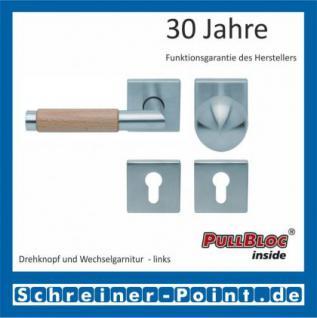 Scoop Chiara Holz quadrat PullBloc Quadratrosettengarnitur Edelstahl matt/Buche/Eiche/Merbau, Rosette Edelstahl matt - Vorschau 5