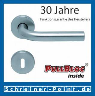Scoop Duo PullBloc Rundrosettengarnitur, Edelstahl poliert/Edelstahl matt, Rosette Edelstahl matt