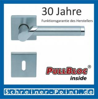 Scoop Fina quadrat PullBloc Quadratrosettengarnitur, verchromt / Edelstahl matt, Rosette Edelstahl matt