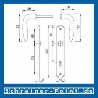 Hoppe Genova Langschild-Garnitur F75-R Messing satiniert/poliert, M1535/265, 2803587, 2803616, 2804811, 2804862 - Vorschau 2
