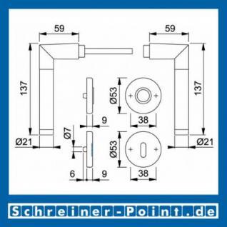 Hoppe Amsterdam Alu - Edelstahl Rosettengarnitur F01-F69 1400/42KV/42KVS, 1974421, 1926518, 1974448, 3390649 - Vorschau 5