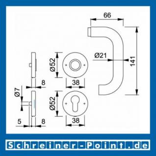 Hoppe Paris Innen-1/2-Garnitur für Kombi-Schutz Edelstahl F69, E138Z/42/42S, 3332019 - Vorschau 2
