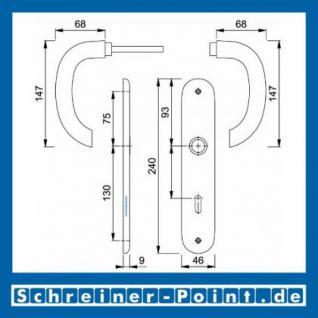 Hoppe Marseille Aluminium Langschildgarnitur F1 Natur 1138/273P, 2784718, 2768128, 2784857, 2785542, 2768144, 2785761 - Vorschau 5