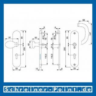 Schutzbeschlag Hoppe Marseille Aluminium F9 Stahlfarben 76G/3331/3440/1138 ES1 (SK2), 3283190, 3222258 - Vorschau 2