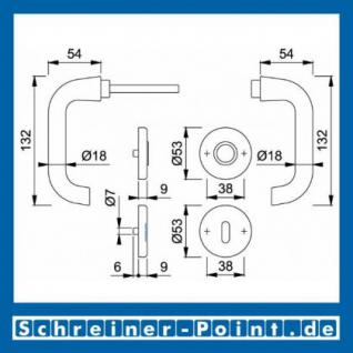 Hoppe Paris Aluminium Rosettengarnitur F2 Neusilber 138L/42KV/42KVS, 3387642, 6989362, 3387685, 3387693, 6989461, 3407519 - Vorschau 5