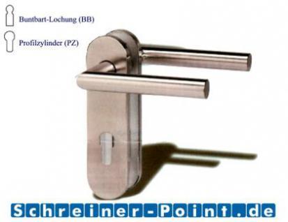 Kurzschildgarnitur L-Form Edelstahl