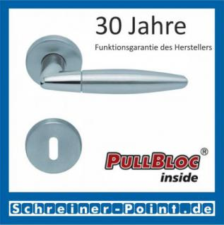 Scoop Optima PullBloc Rundrosettengarnitur Edelstahl poliert / Edelstahl matt, Rosette Edelstahl matt
