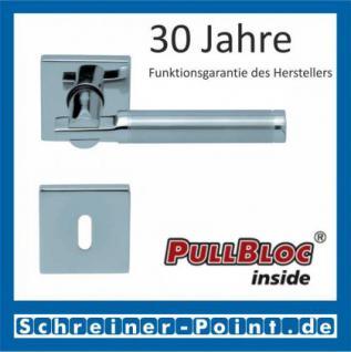 Scoop Pan quadrat PullBloc Quadratrosettengarnitur, Edelstahl poliert/Edelstahl matt, Rosette Edelstahl poliert