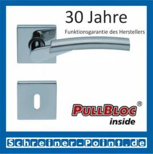Scoop Rocket quadrat PullBloc Quadratrosettengarnitur, verchromt/nickelmatt, Rosette Edelstahl poliert - Vorschau 1