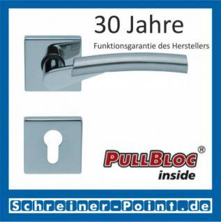 Scoop Rocket quadrat PullBloc Quadratrosettengarnitur, verchromt/nickelmatt, Rosette Edelstahl poliert - Vorschau 2