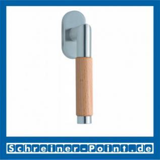 Scoop Chiara Holz Fenstergriff Edelstahl matt Rosette oval, 1X7441