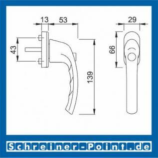 Hoppe Tokyo Aluminium Fenstergriff Druckknopf F1 Natur 0710SV/U26, 1747472, 1747536, 2024701 - Vorschau 2