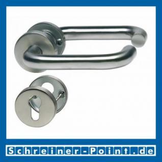 U-Form Edelstahl Rosettengarnitur auf Metall-Unterrosette - Vorschau 2