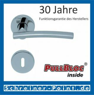 Scoop Wing PullBloc Rundrosettengarnitur, Edelstahl poliert/Edelstahl matt, Rosette Edelstahl poliert