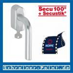 Hoppe Bonn Aluminium Fenstergriff abschließbar F1 Natur Secu100 + Secustik 150F/US950S (100 Nm), 3035671, 3035701