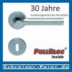 Scoop Fina II PullBloc Rundrosettengarnitur, Edelstahl poliert/Edelstahl matt, Rosette Edelstahl matt