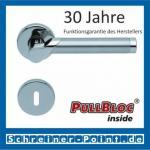 Scoop Fina II PullBloc Rundrosettengarnitur, Edelstahl poliert/Edelstahl matt, Rosette Edelstahl poliert