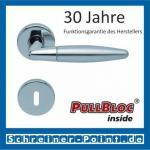 Scoop Optima PullBloc Rundrosettengarnitur Edelstahl poliert / Edelstahl matt, Rosette Edelstahl poliert