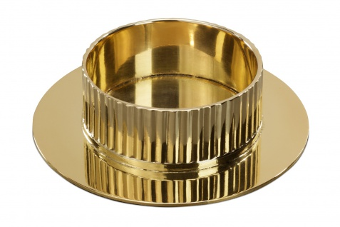 Kerzenhalter Messing Struktur goldfarben 9 cm Kerzenleuchter Kommunion Kerze