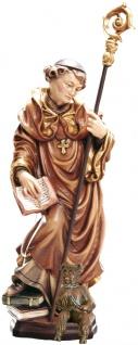 Heiliger Maurus mit Teufel Holzfigur geschnitzt Südtirol Schutzpatron