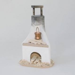 Herdstelle mit Kupfertopf handgefertigt Holz 15 cm Zubehör für Weihnachtskrippe