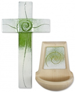 Glaskreuz Weihwasserkessel Set Spirale Glas Holz grün weiß Kreuz Weihbecken