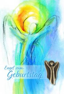 Geburtstagskarte mit Bronze Engel (5 Stck) Glückwunschkarte Kuvert