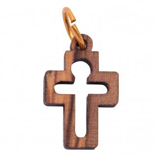 Schmuck Kreuz Jesus Anhänger 2 cm Kruzifix Olivenholz Lederband Holzkreuz