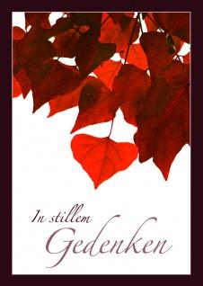 Trauerkarte In stillem Gedenken Herbstlaub (6 Stck) Beileidskarte Kondolenzkarte