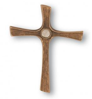 Wandkreuz Kruzifix mit Bergkristall 13 cm Bronze Christliches Kreuz