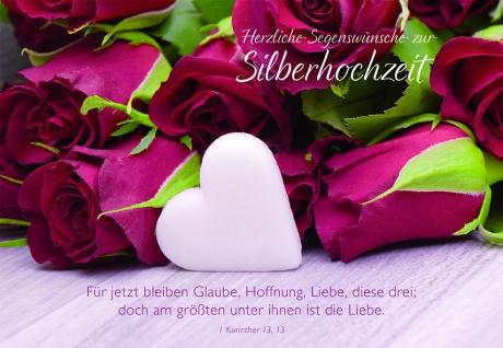 Hochzeitskarte Silberhochzeit Herzliche Segenswünsche (6 St) Glückwunschkarte