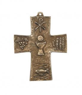 Wandkreuz Symbol-Kreuz 10 cm Bronze Erstkommunion Geschenk Kreuz - Vorschau 1