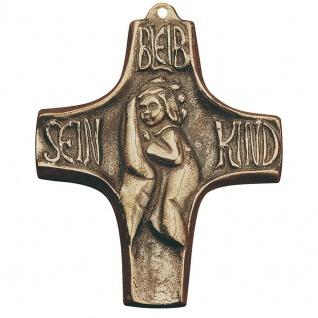 Wandkreuz Taufe Steigerwald Bleib sein Kind 10 cm Bronze Taufkreuz