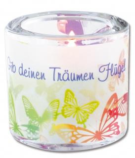 Glaswindlicht Flügel inkl. Teelicht Kerzenhalter Geschenkbox Glas für Windlicht