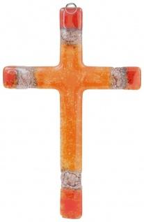 Glaskreuz orange Ecken Fusing Glas Kreuz Handarbeit 14 cm Wandkreuz Unikat Taufe