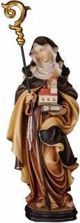 Heilige Ehrentraud mit Stab und Kirche Holzfigur geschnitzt Südtirol Patronin