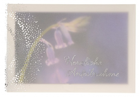 Trauerkarte Anteilnahme 6 St Kuvert Folienprägung Transparent-Umleger Erinnerung