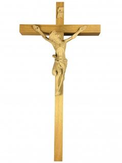 Kruzifix schlicht 40 cm Eichenholz hell Holzkreuz gerader Querbalken